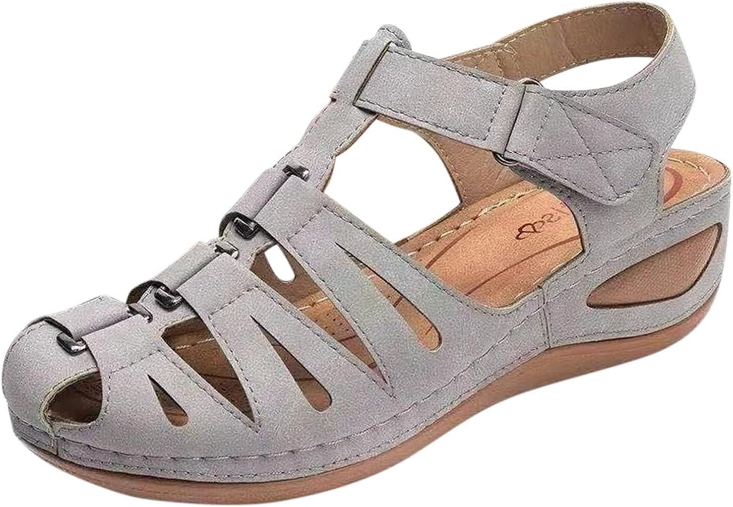 PLENTOP Roman Style Wedge Sandals Women's Solid Color Plus Miami Mall half Size