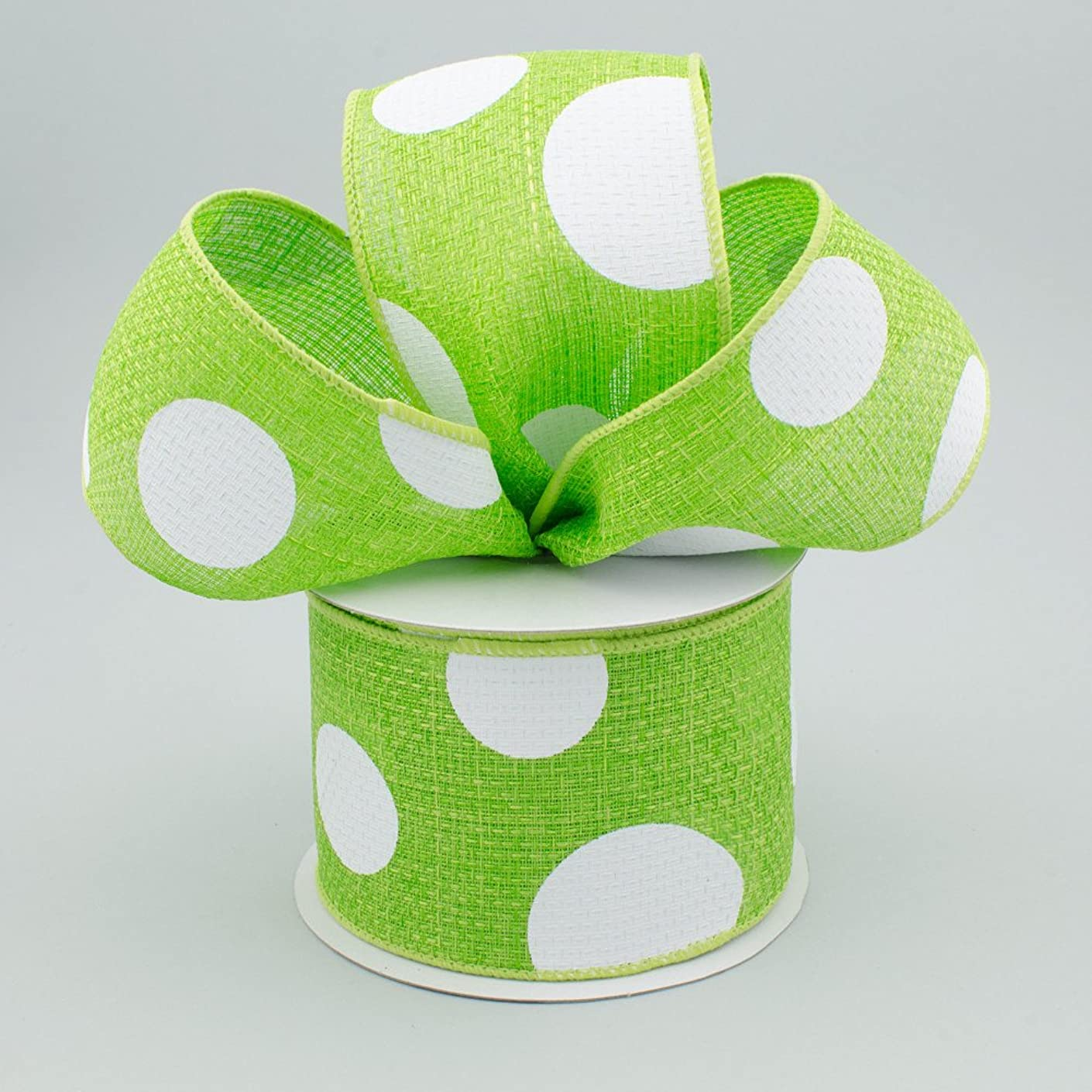 Giant Multi Dots Faux Burlap Wired Edge Ribbon - 2.5 Inch x 10 yards (Lime Green, White) : RG0120033