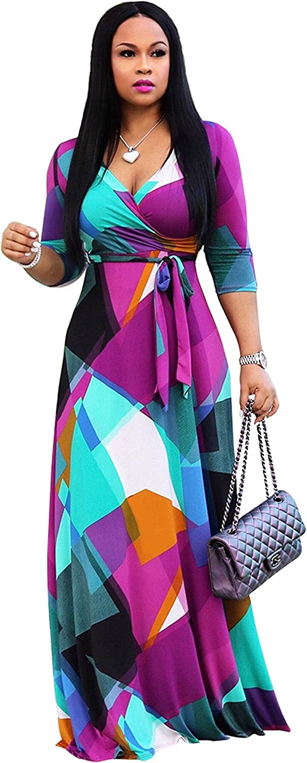 CLOCOR Plus-Size Dress Maxi-Long for Women - V-Neck 3/4 Sleeve with Belt Casual Summer Sundress