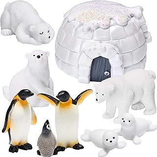 9 Pieces Polar Animal Toy Figurines Set with Lgloo Realistic Polar Bear Figures Emperor Penguin Figurines Seal Figure Toys...
