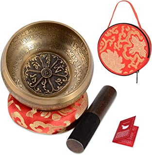 SHANSHUI Singing Bowl, 5 inch Meditation Tibetan Set, Nepal Antique Mantra Carving Hand Hammered, Sound For Yoga Chakras Healing Meditation -Red