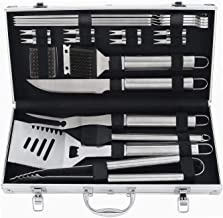 POLIGO 20pcs Barbecue Grill Utensils Kit Stainless Steel BBQ Grill Tools Set - Camping Grill Accessories in Aluminum Case for Christmas Birthday Presents - Ideal Outdoor Grilling Gifts Set for Dad Men