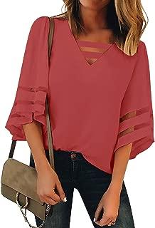 Women's Casual V Neck Mesh Panel Blouse Tops 3/4 Bell Sleeve Shirt
