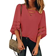 ACKKIA Women's Casual V Neck 3/4 Bell Sleeves Loose Blouse Tee Shirt Solid Top
