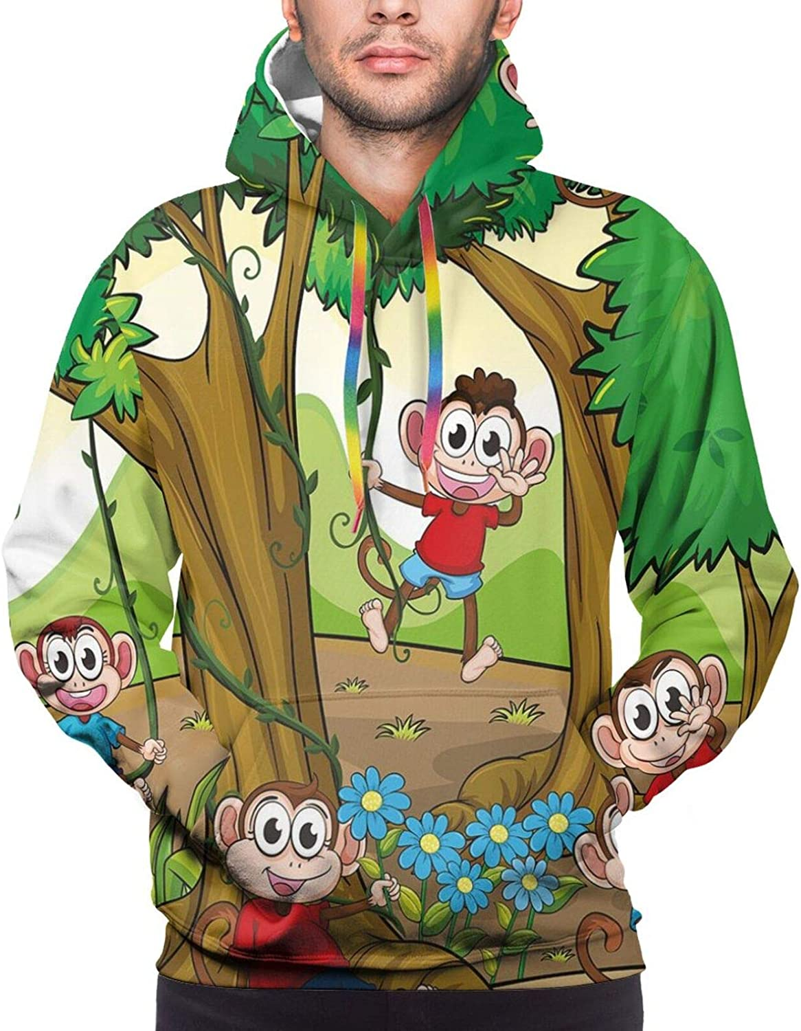 Men's Hoodies Sweatshirts,Children Kid Apes Monkeys Playing in Exotic Forest with Big Trees and Daisy Blooms