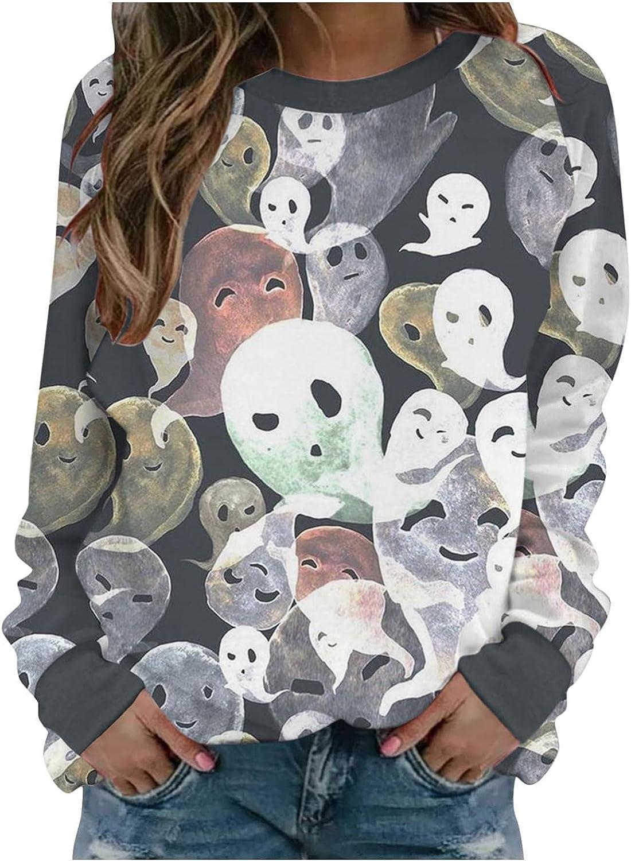 TAYBAGH Halloween Shirts for Women,Womens Fashion Pumpkin Print Long Sleeve Sweatshirt Casual Loose Pullover Blouse Tops
