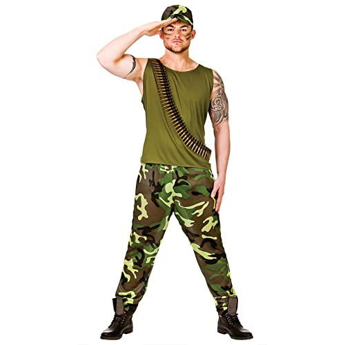 4dc590ea4937b Adults Mens Army Soldier Guy Military Forces Fancy Dress Up Party Costume  Outfit