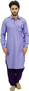 Men's Pathani Style Salwaar Kameez Set Purple Punjabi Kurta Shirt
