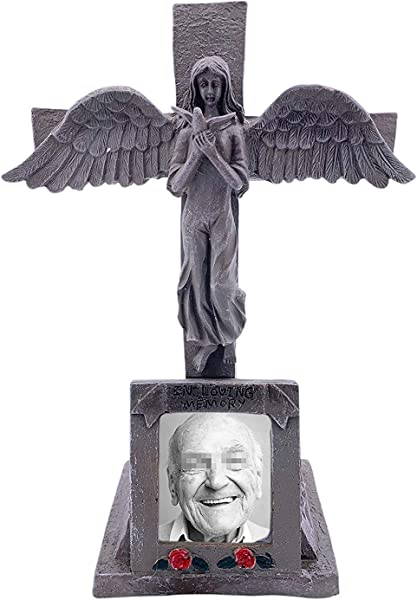 BC INTER Solar Lighted Cross Angel Cemetery Decoration Grave Headstone Memorial Automatically Lights Up At Night