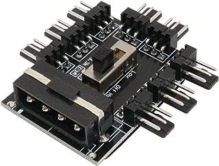 LiuTian PC Fan Speed Controller 8 Way Cooling Fan Hub 3 Gear Speed IDE Molex 1 to 8 Multi Way Splitter 3-Pin Power Socket PCB Adapter