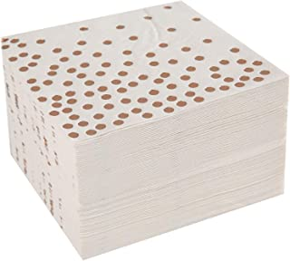 Cocktail paper Napkins hot stamped with rose gold foil polka dot,3 ply, 9.8 inch x 9.8 inch, 2 pack of 50 count white color paper napkin (total 100 pcs) by Nursetree.