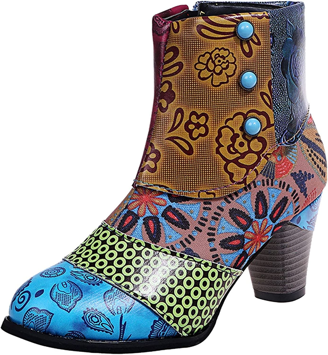 Cowgirl Boots for Women VintageMid Calf Round Toe Punk Knight Boots Chain Studded Knight Retro Cowboy Boots for WomenWomen's Sunflower Printed Boots
