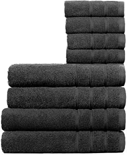 Cleanup Towels Set of 8, 2 Bath Towels, 2 Hand Towels, and 4 Washcloths, 550 GSM Premium Terry Cotton Highly Absorbent Tow...