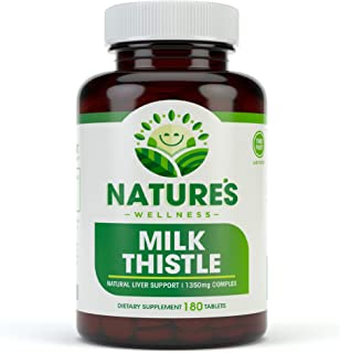 Milk Thistle 1350mg - 180 Count - Standardized Silymarin Extract for Maximum Liver Support - Detox, Cleanse & Maintain Your Liver – Extract & Seed Complex - Natural Herbal Supplement