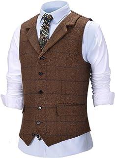 Men's Vintage Tweed Wool Suit Vest Work Plaid Notch Lapel Slim Fit Waistcoat for Wedding Groomsmen (Tweed Back not Satin)