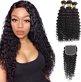 BEAUFOX Brazilian Virgin Hair Deep Wave 3 Bundles With Free Part Closure 3 pcs/lot Brazilian Hair Weave Bundles With Closure Remy Hair Extension Can Be Dyed and Bleached (20 22 24 + 18, Natural Color)