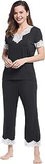 Joyaria Womens Soft Bamboo V Neck Lace Trim Short Sleeve Capri Pants Pajama/Pj Set
