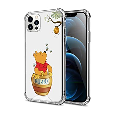 DISNEY COLLECTION Crystal Clear Designed for iPhone 12 Pro Max Case, Winnie The Pooh PC + TPU Ultra-Thin Shockproof Transparent Bumper Protective Cover Case for iPhone 12 Pro Max 6.7 Inch 2020