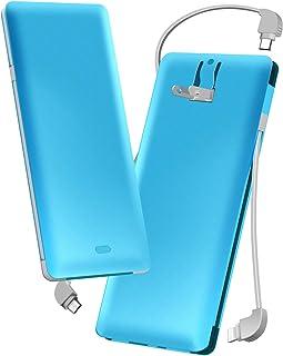 モバイルバッテリー 大容量(ACプラグ PSE認証済み 10000mAh 3ケーブル内蔵 1USBポート ライトニング/micro USB/type-cケーブル内蔵) スマホ 充電器 バッテリー 急速充電 軽量 薄型 コンセント 折畳プラグ 持...