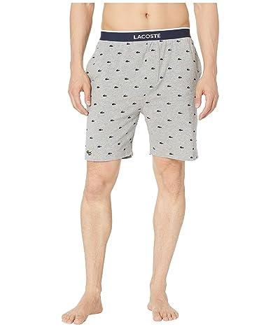 Lacoste Lounge Knit Print Shorts (Light Grey Heather) Men