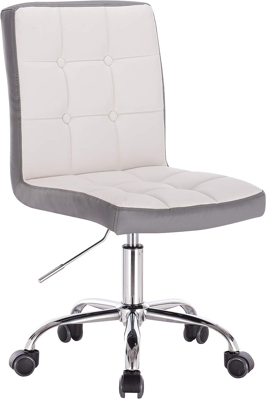 1stuff Designer Bürostuhl Ladylike - hhenverstellbar - 360 drehbar - schmal geschnitten - Schreibtischstuhl Rollhocker Drehstuhl Kosmetikstuhl (Lederimitat wei)