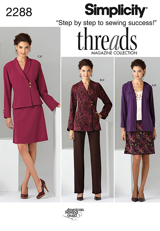 Simplicity Threads Magazine Pattern 2288 Women's Jacket, Pants, Skirt and Knit Cardigan Sizes 10-12-14-16-18