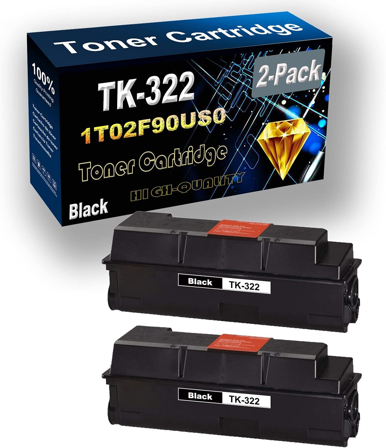 Remanufactured Toner Cartridge Replacement for Kyocera TK322 TK-322 | 1T02F90US0 for Kyocera FS-3900DN FS-4000DN Printer (2-Pack Black)