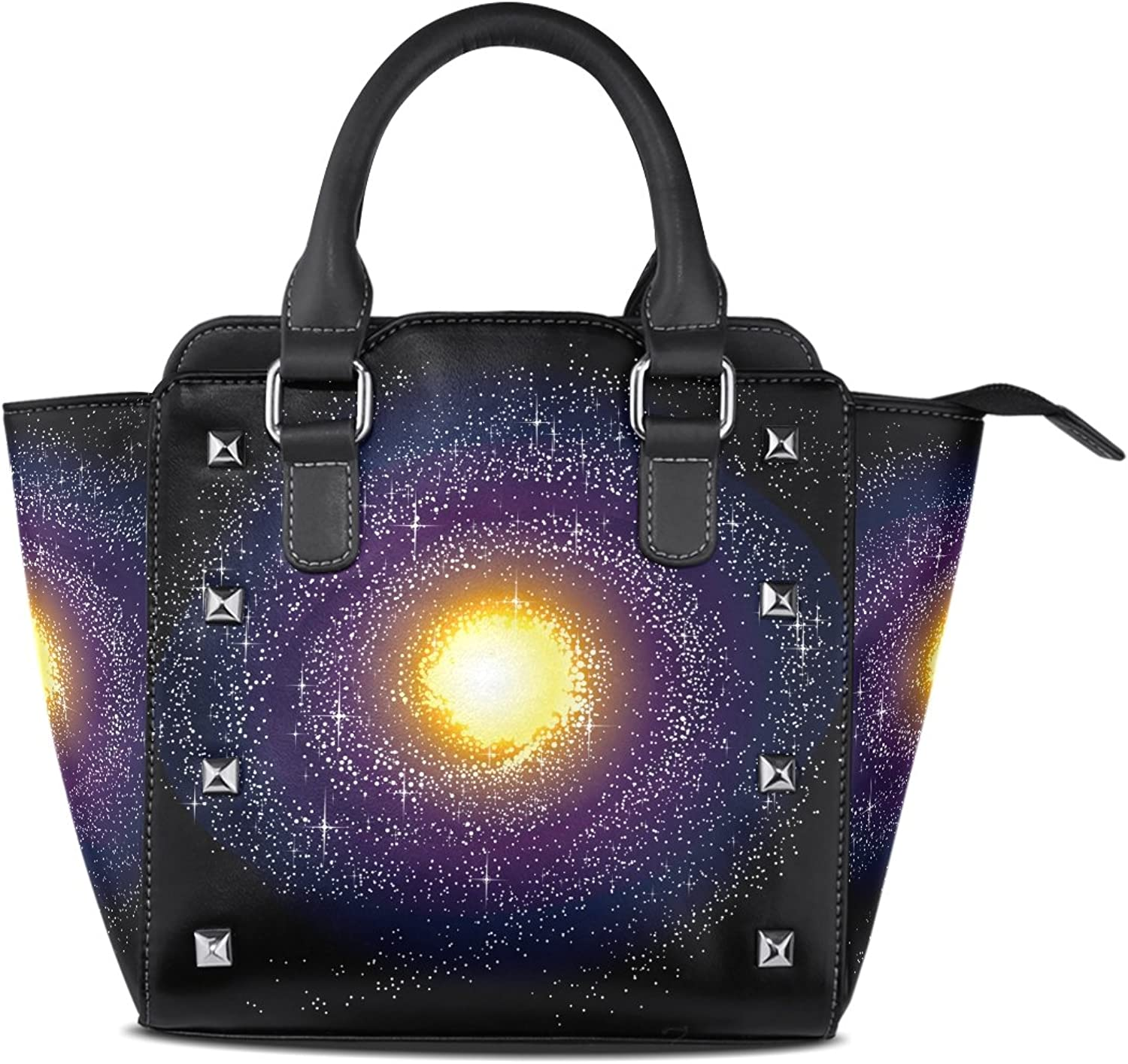 Sunlome Spiral Galaxy Milky Way Print Women's Leather Tote Shoulder Bags Handbags