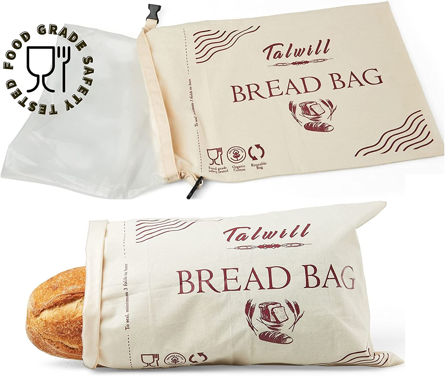 Bread Bag 2pcs set extra large reusable cotton bread bag washable double lined bread storage for Homemade Bread Food safety tested baker baking gift (Pack of 2)