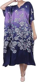 Miss Lavish London Kaftan Tunic One Size Beach Cover Up Maxi Dress Sleepwear Embellished Kimonos [Blue]