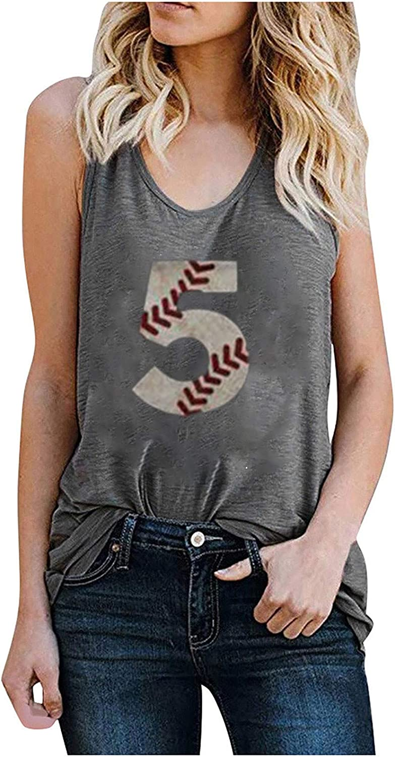 service Tank Purchase Tops for Women Loose Fit Prin Baseball Graphic Numbers Tees