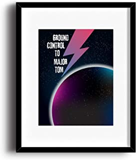 Song Lyric Art Poster - Wall Decor Music Quote Print - Space Oddity by David Bowie