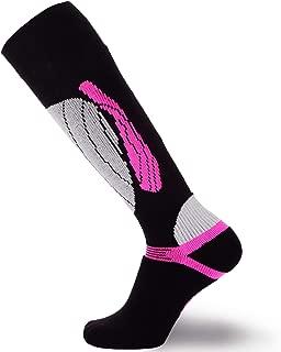 PureAthlete Elite Wool Race Ski Socks - Warm Comfortable Ski Socks, Snowboard Socks - Merino Wool Ski Socks (Black/Neon Pink, S/M)