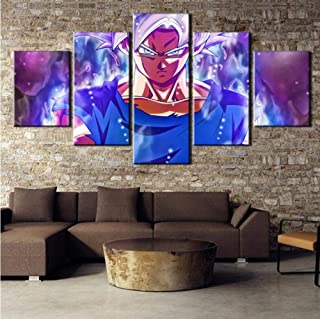 WOAIC Posters & Prints 5Pcs Canvas Art Anime Ultra Instinct Goku Super Saiyan Hd Printing Home Decoration (Size 1) Frameless