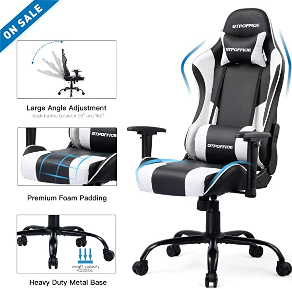 GTPOFFICE Gaming Chair Office Computer Racing Chairs Reclining High Back For Adult Adjustable Swivel With Headrest And Lumbar Support Cushion White