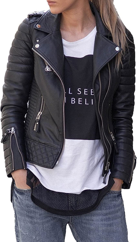 BENJER Skins Women's Lambskin Leather Bomber Motorcycle Jacket