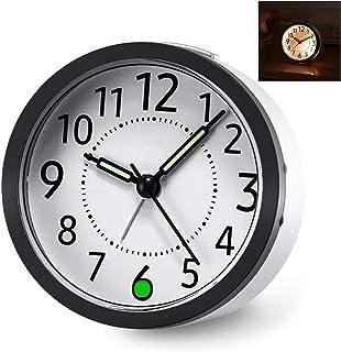 iwobi Tyst icke tickande resa väckarklocka med snooze-funktion, lätt väckarklocka för barn sovrum kontor