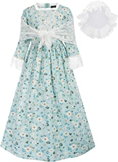 SCARLET DARKNESS Pioneer Costume Floral Colonial Dresses for 6-15 Year-old Girls