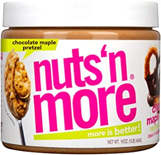 Nuts 'N More Chocolate Maple Pretzel Peanut Butter Spread, All Natural High Protein Nut Butter Healthy Snack, Omega 3's, A...