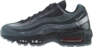 Men's Air Max 95 Black/Ember Glow/Dark Grey Leather Cross-Trainers Shoes 9 M US