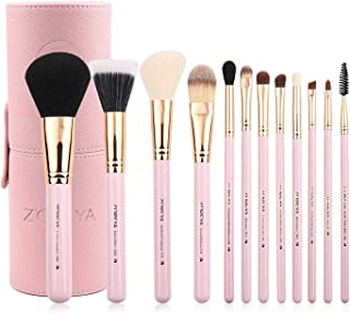 Zoreya Makeup Brush Set 12pcs Pink Synthetic Makeup Brushes Travel Set With Holder Makeup Brush Organizer Foundation Powde...