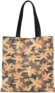 S4Sassy Blue Autumn Leaves Printed Re-Usable Tote Bag Women Shoulder Handbag Travel Shopping Bag 16x12 Inches