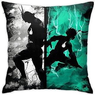 WH-CLA Pillowcase Bnha Izuku Deku and All Migh - Funda De Almohada De Cumpleaños con Cremallera, Regalo para Sofá, Regalos Cuadrados Personalizados De Anime, 45 X 45 Cm, Funda De Cojín,