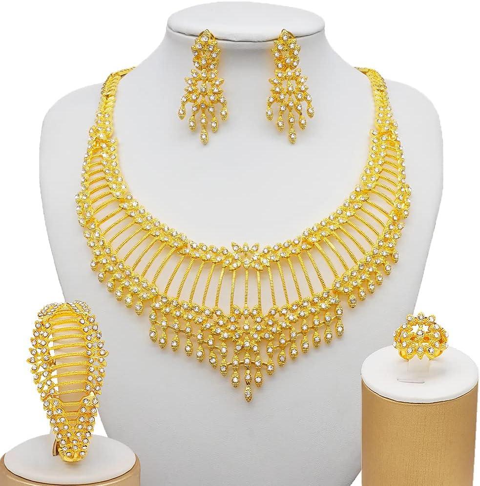 Jiahezi Dubai 24K Gold Color Jewelry Sets, Women Luxury Necklace Earrings Bracelet Ring India African Wedding Gifts Ethiopia Set (Metal Color : BJ861 1)