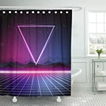 Emvency Shower Curtain Purple Graphic 80S Retro Sci Fi Pink Neon Futuristic Waterproof Polyester Fabric 60 x 72 inches Set with Hooks