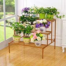 JUAN 3 Layer Plant Display Stand, Wrought Iron Stepped Flower Pot Rack, Outdoor Garden Living Room Balcony Flower Rack Storage Rack (Color : Gold)