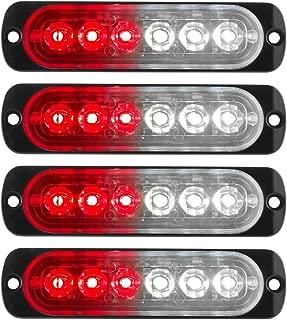4Pcs 6LED Red&White Led Light Head Emergency Beacon Hazard Warning Light Flash Caution Strobe Light Bar Surface Mount for Car Truck 12-24V