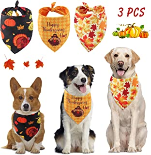 Idepet Dog Bandana Thanksgiving Christmas Pet Triangle Bibs Santa Claus Christmas Tree Printing Kerchief Sets Washable Scarf Accessories for Dogs Cats Reversible