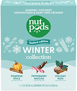 nutpods Winter Collection, (3-Pack), Pumpkin Spice, Peppermint Mocha and Holiday Nog, Unsweetened Dairy-Free Creamer, Made...