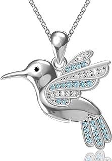 "ACJNA 925 Sterling Silver Hummingbird Pendant Necklace,18"""